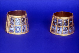 Gold bracelets with cloisonne enamel decoration