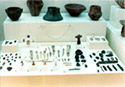 Showcase with findings of Neolithic period from the Kitsos cave