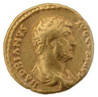 Obverse of a Ηadrians Golden quinarius, mint Rom (134-138 A.D) HADRIANUS AUG III PP. Hadrian's bust to right.