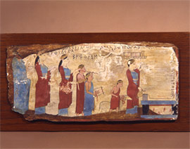 A sacrificial procession is depicted, which approaches the lit altar