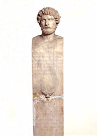 The cosmete Sosistratos is depicted as a mature man, while the inscription inform us that the stele was commissioned by the ephebi in honour of their cosmete