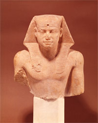 Part of the statue of a Pharaoh