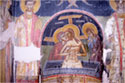 Wall paintings on the east wall of the sanctuary in the chapel of Agios Dimitrios