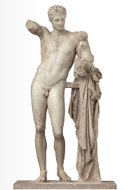 Hermes is depicted naked, rested on a trunk and holding new-born Dionysus in his left hand