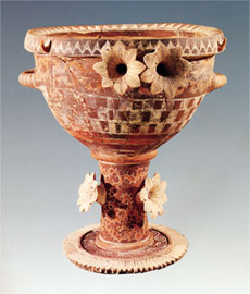 View of the krater with relief flowers