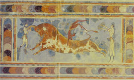 Bullfighting, part of a fresco from Knosos