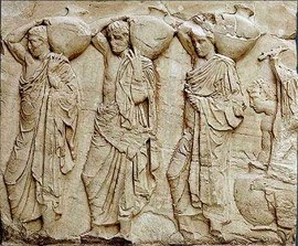 The slab VI of the Parthenon north frieze depicts three youths bearing hydriai filled with water on their shoulders.