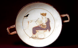 Interior of an white kylix with Apollon representation