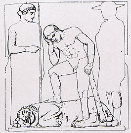 Sketch of the first metope of the temple's opisthodomus: Heracles kills the Nemean Lion