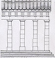 Sketch representation of the Echo Hall doric colonnade