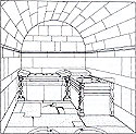 Perspective drawing of the internal funerary room