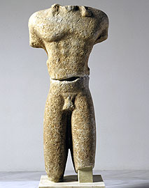 View of kouros' preserved body