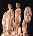 Statues of the Asklepios' children, Machaon, Hygeia, Panakeia, Aigle, that founded ta the north wing of the thermae at Dion