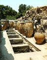 The storerooms with the large pithoi (storage jars) at the west section of the Knosos palace