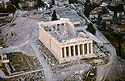 Aerial photo of the Parthenon. Restoration work is visible.